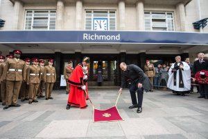The paving stone is unveiled