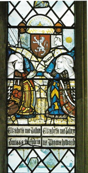 Medieval stained glass showing Elizabeth Talbot, Duchess of Norfolk