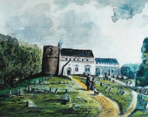 Wortham Church as painted by Richard Cobbold.