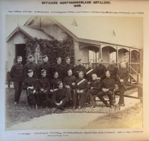 Officers of the Northumberland Artillery. Maj. Barnes is front row extreme right.