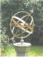 A bronze Solstice Armillary, also by Robert Foster, showing the gnomon arrow.