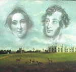 Rosina Bulwer Lytton and Edward Bulwer Lytton against Knebworth Park as it was in Emily's day.